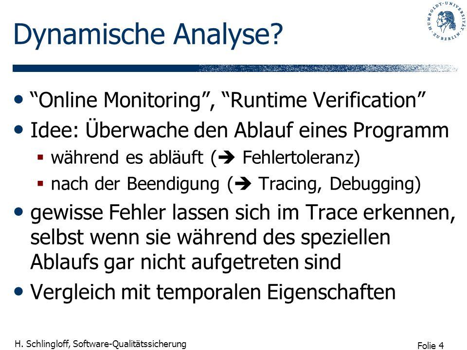 Folie 4 H. Schlingloff, Software-Qualitätssicherung Dynamische Analyse? Online Monitoring, Runtime Verification Idee: Überwache den Ablauf eines Progr