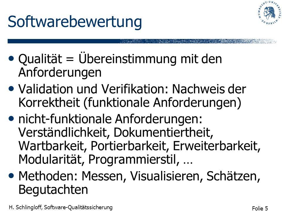 Folie 5 H. Schlingloff, Software-Qualitätssicherung Softwarebewertung Qualität = Übereinstimmung mit den Anforderungen Validation und Verifikation: Na
