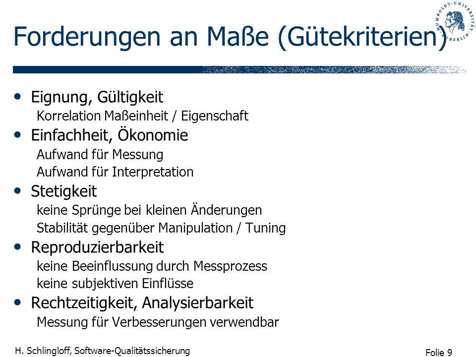 Folie 9 H. Schlingloff, Software-Qualitätssicherung Forderungen an Maße (Gütekriterien) Eignung, Gültigkeit Korrelation Maßeinheit / Eigenschaft Einfa