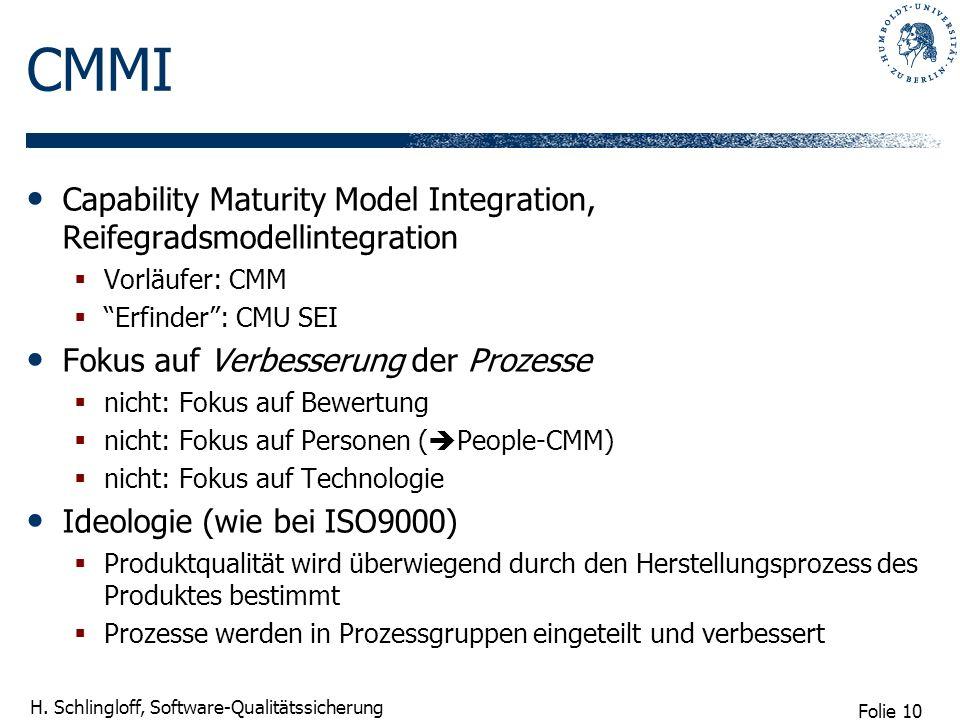 Folie 10 H. Schlingloff, Software-Qualitätssicherung CMMI Capability Maturity Model Integration, Reifegradsmodellintegration Vorläufer: CMM Erfinder: