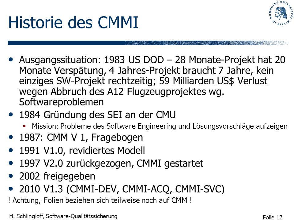 Folie 12 H. Schlingloff, Software-Qualitätssicherung Historie des CMMI Ausgangssituation: 1983 US DOD – 28 Monate-Projekt hat 20 Monate Verspätung, 4