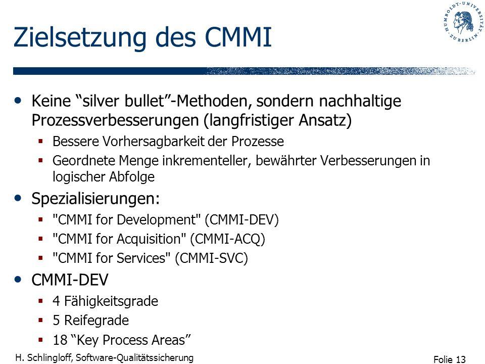 Folie 13 H. Schlingloff, Software-Qualitätssicherung Zielsetzung des CMMI Keine silver bullet-Methoden, sondern nachhaltige Prozessverbesserungen (lan