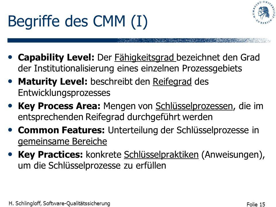 Folie 15 H. Schlingloff, Software-Qualitätssicherung Begriffe des CMM (I) Capability Level: Der Fähigkeitsgrad bezeichnet den Grad der Institutionalis