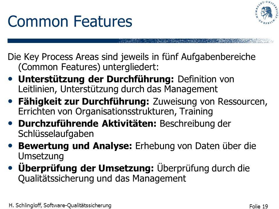 Folie 19 H. Schlingloff, Software-Qualitätssicherung Common Features Die Key Process Areas sind jeweils in fünf Aufgabenbereiche (Common Features) unt