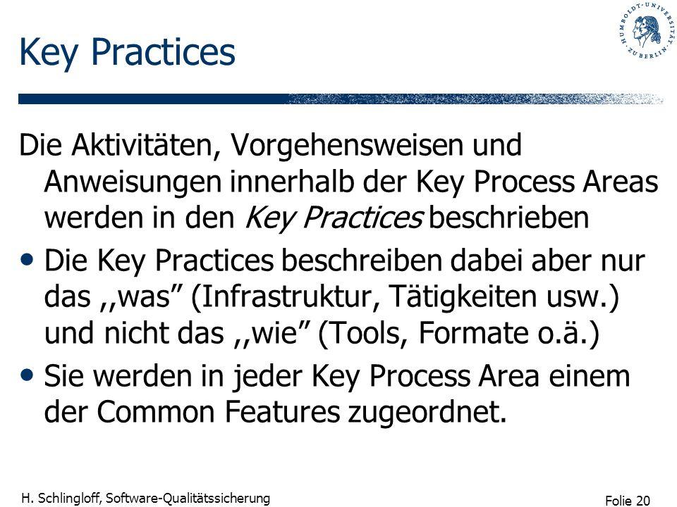 Folie 20 H. Schlingloff, Software-Qualitätssicherung Key Practices Die Aktivitäten, Vorgehensweisen und Anweisungen innerhalb der Key Process Areas we