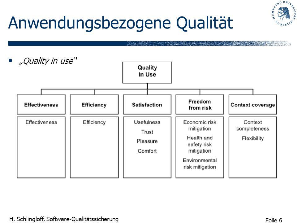 Folie 6 H. Schlingloff, Software-Qualitätssicherung Anwendungsbezogene Qualität Quality in use