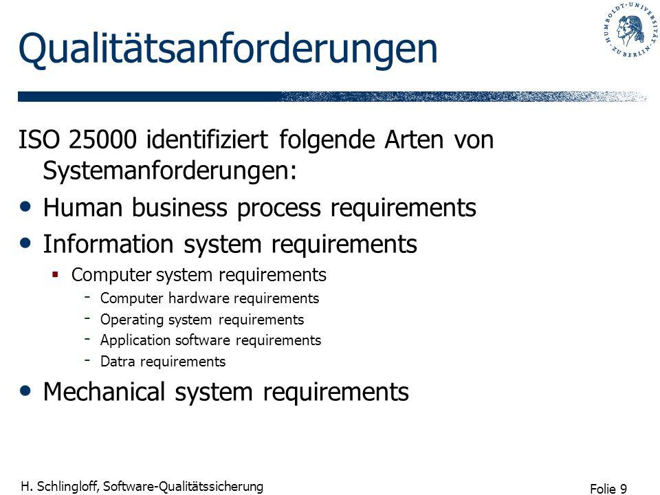 Folie 9 H. Schlingloff, Software-Qualitätssicherung Qualitätsanforderungen ISO 25000 identifiziert folgende Arten von Systemanforderungen: Human busin