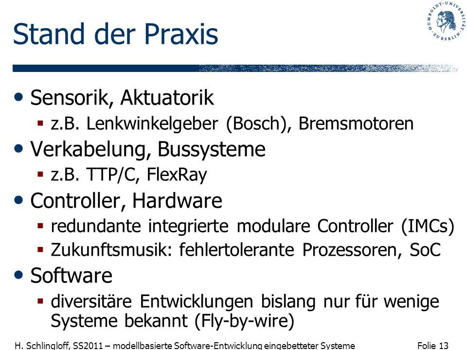 Folie 13 H. Schlingloff, SS2011 – modellbasierte Software-Entwicklung eingebetteter Systeme Stand der Praxis Sensorik, Aktuatorik z.B. Lenkwinkelgeber