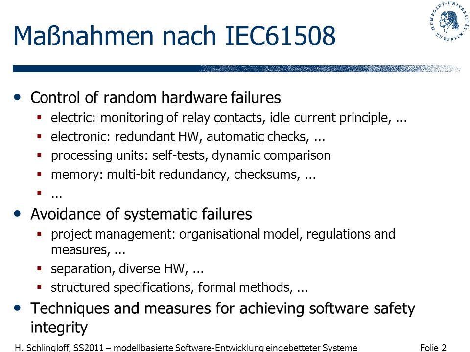 Folie 2 H. Schlingloff, SS2011 – modellbasierte Software-Entwicklung eingebetteter Systeme Maßnahmen nach IEC61508 Control of random hardware failures