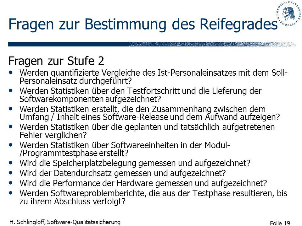 Folie 19 H. Schlingloff, Software-Qualitätssicherung Fragen zur Bestimmung des Reifegrades Fragen zur Stufe 2 Werden quantifizierte Vergleiche des Ist