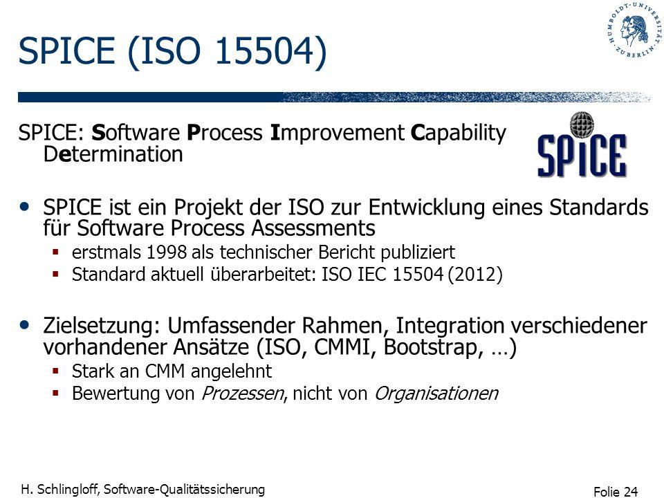 Folie 24 H. Schlingloff, Software-Qualitätssicherung SPICE (ISO 15504) SPICE: Software Process Improvement Capability Determination SPICE ist ein Proj