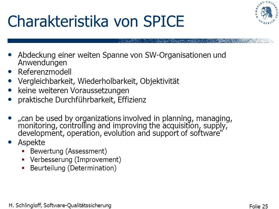 Folie 25 H. Schlingloff, Software-Qualitätssicherung Charakteristika von SPICE Abdeckung einer weiten Spanne von SW-Organisationen und Anwendungen Ref