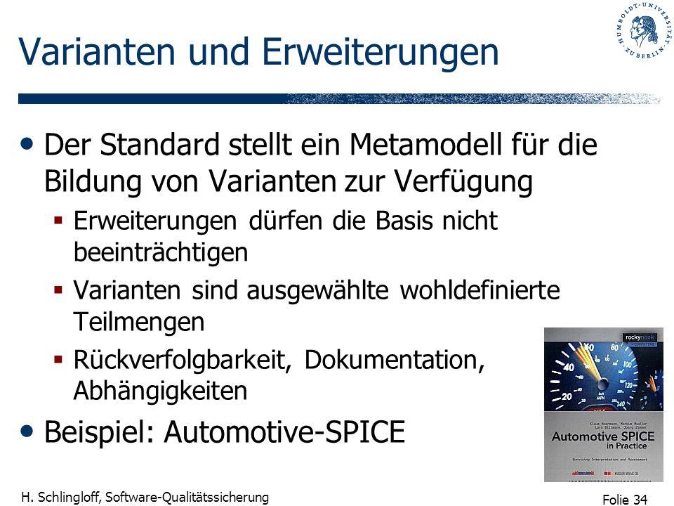 Folie 34 H. Schlingloff, Software-Qualitätssicherung Varianten und Erweiterungen Der Standard stellt ein Metamodell für die Bildung von Varianten zur