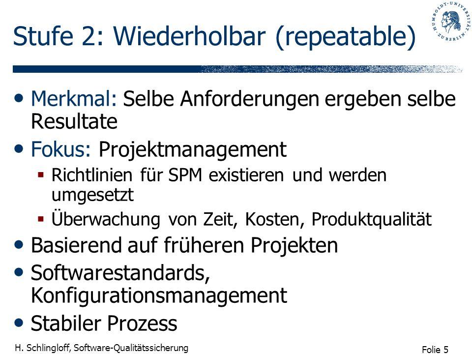 Folie 5 H. Schlingloff, Software-Qualitätssicherung Stufe 2: Wiederholbar (repeatable) Merkmal: Selbe Anforderungen ergeben selbe Resultate Fokus: Pro