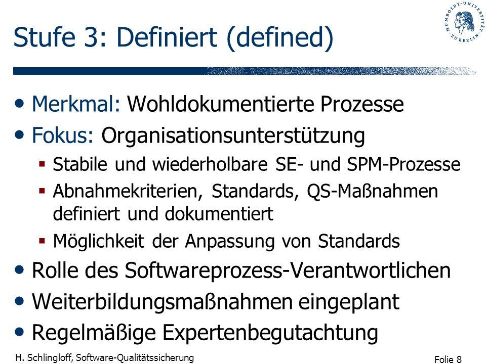 Folie 8 H. Schlingloff, Software-Qualitätssicherung Stufe 3: Definiert (defined) Merkmal: Wohldokumentierte Prozesse Fokus: Organisationsunterstützung