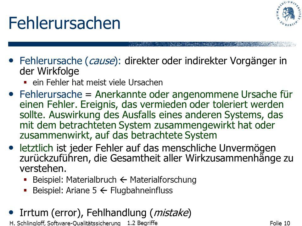 Folie 10 H. Schlingloff, Software-Qualitätssicherung 1.2 Begriffe Fehlerursachen Fehlerursache (cause): direkter oder indirekter Vorgänger in der Wirk