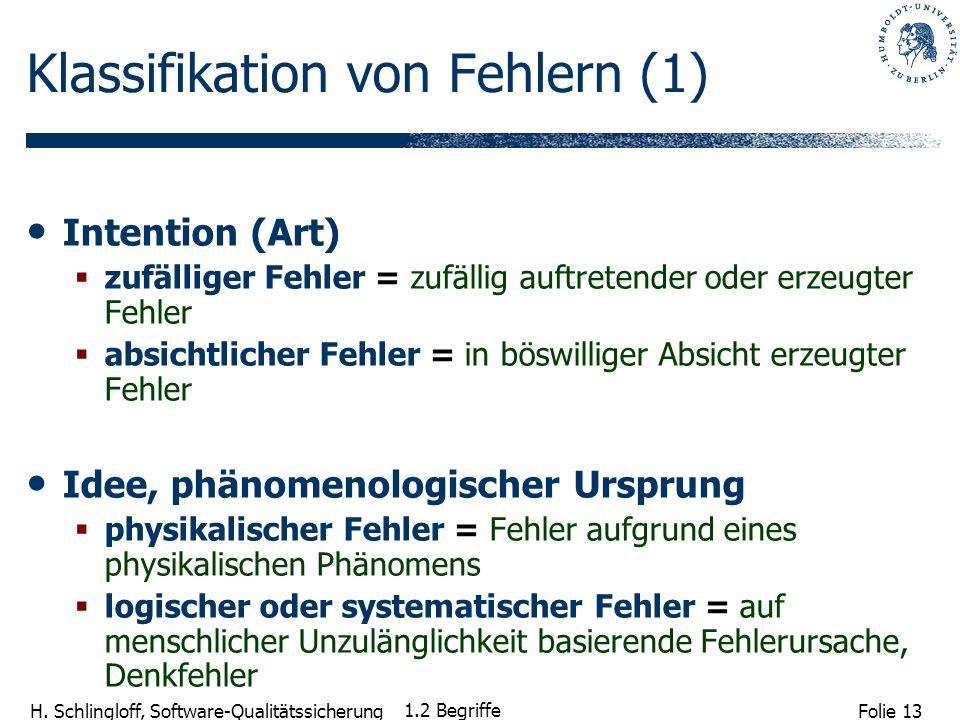 Folie 13 H. Schlingloff, Software-Qualitätssicherung 1.2 Begriffe Klassifikation von Fehlern (1) Intention (Art) zufälliger Fehler =zufällig auftreten