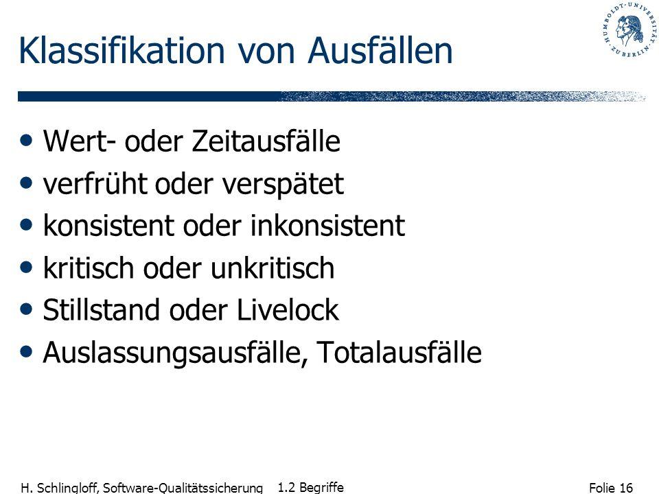 Folie 16 H. Schlingloff, Software-Qualitätssicherung 1.2 Begriffe Klassifikation von Ausfällen Wert- oder Zeitausfälle verfrüht oder verspätet konsist