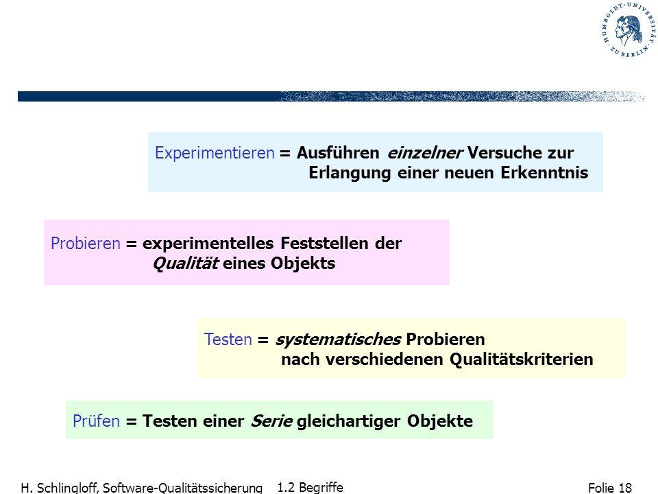 Folie 18 H. Schlingloff, Software-Qualitätssicherung 1.2 Begriffe Prüfen = Testen einer Serie gleichartiger Objekte Experimentieren = Ausführen einzel
