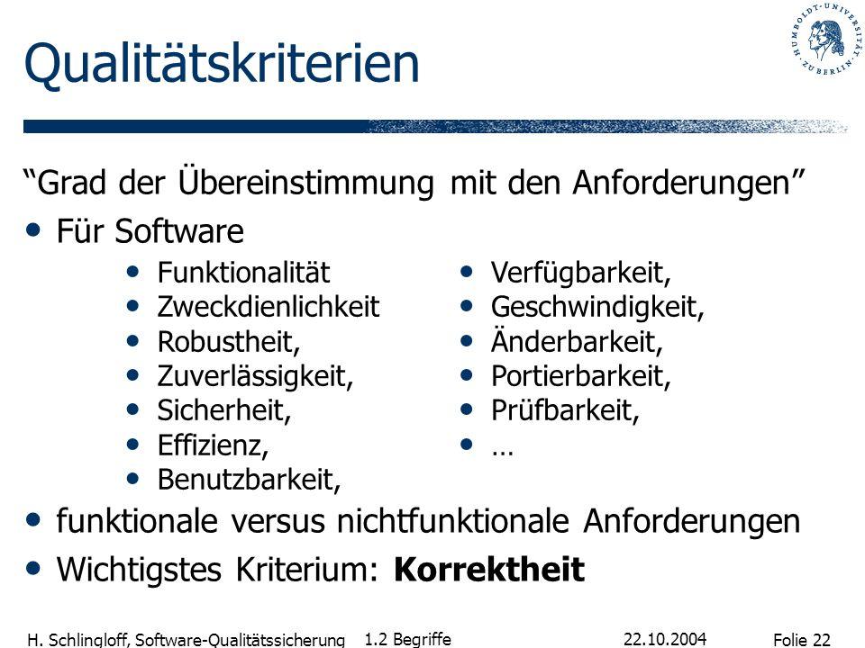 Folie 22 H. Schlingloff, Software-Qualitätssicherung Qualitätskriterien Grad der Übereinstimmung mit den Anforderungen Für Software funktionale versus