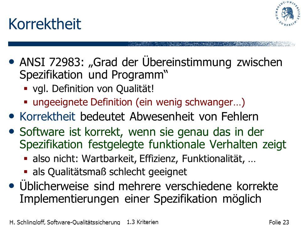 Folie 23 H. Schlingloff, Software-Qualitätssicherung 1.3 Kriterien Korrektheit ANSI 72983: Grad der Übereinstimmung zwischen Spezifikation und Program