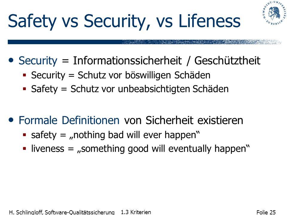 Folie 25 H. Schlingloff, Software-Qualitätssicherung 1.3 Kriterien Safety vs Security, vs Lifeness Security = Informationssicherheit / Geschütztheit S