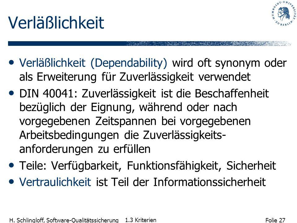 Folie 27 H. Schlingloff, Software-Qualitätssicherung 1.3 Kriterien Verläßlichkeit Verläßlichkeit (Dependability) wird oft synonym oder als Erweiterung