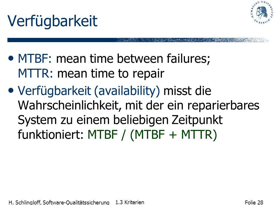 Folie 28 H. Schlingloff, Software-Qualitätssicherung 1.3 Kriterien Verfügbarkeit MTBF: mean time between failures; MTTR: mean time to repair Verfügbar