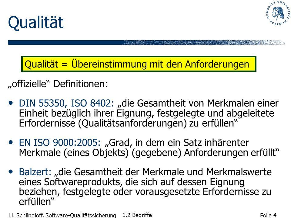 Folie 4 H. Schlingloff, Software-Qualitätssicherung 1.2 Begriffe Qualität offizielle Definitionen: DIN 55350, ISO 8402: die Gesamtheit von Merkmalen e