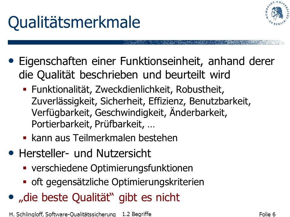 Folie 6 H. Schlingloff, Software-Qualitätssicherung 1.2 Begriffe Qualitätsmerkmale Eigenschaften einer Funktionseinheit, anhand derer die Qualität bes