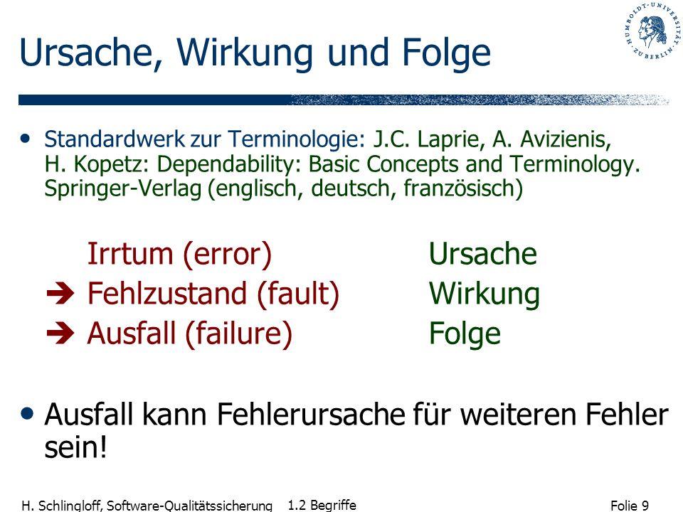 Folie 9 H. Schlingloff, Software-Qualitätssicherung 1.2 Begriffe Ursache, Wirkung und Folge Standardwerk zur Terminologie: J.C. Laprie, A. Avizienis,