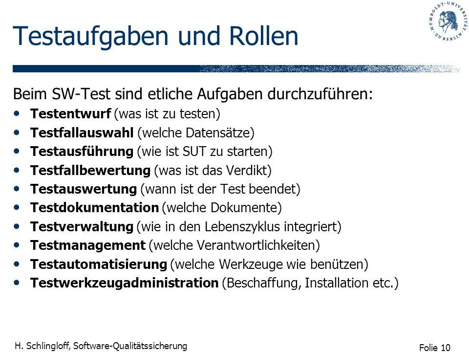 Folie 10 H. Schlingloff, Software-Qualitätssicherung Testaufgaben und Rollen Beim SW-Test sind etliche Aufgaben durchzuführen: Testentwurf (was ist zu