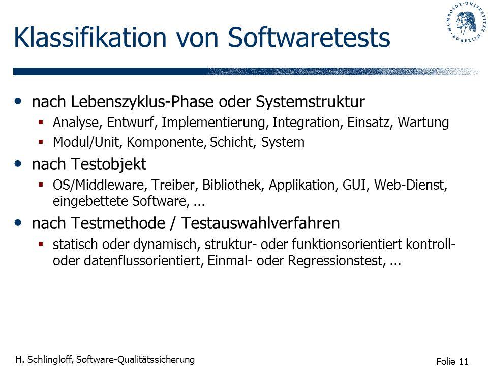 Folie 11 H. Schlingloff, Software-Qualitätssicherung Klassifikation von Softwaretests nach Lebenszyklus-Phase oder Systemstruktur Analyse, Entwurf, Im