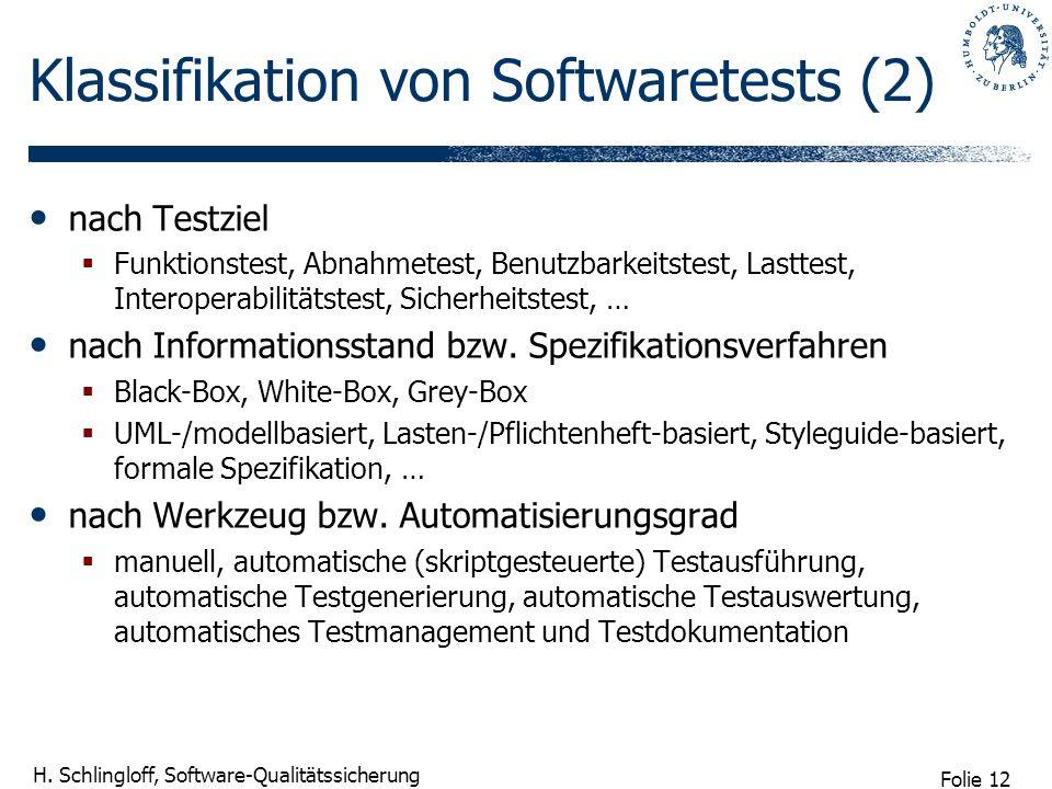 Folie 12 H. Schlingloff, Software-Qualitätssicherung Klassifikation von Softwaretests (2) nach Testziel Funktionstest, Abnahmetest, Benutzbarkeitstest