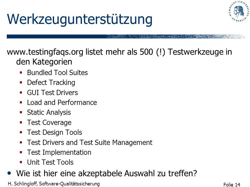 Folie 14 H. Schlingloff, Software-Qualitätssicherung Werkzeugunterstützung www.testingfaqs.org listet mehr als 500 (!) Testwerkzeuge in den Kategorien