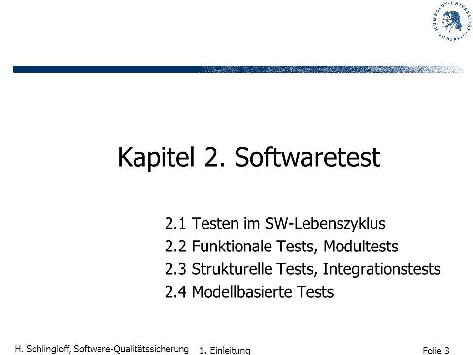 Folie 3 H. Schlingloff, Software-Qualitätssicherung 1. Einleitung Kapitel 2. Softwaretest 2.1 Testen im SW-Lebenszyklus 2.2 Funktionale Tests, Modulte