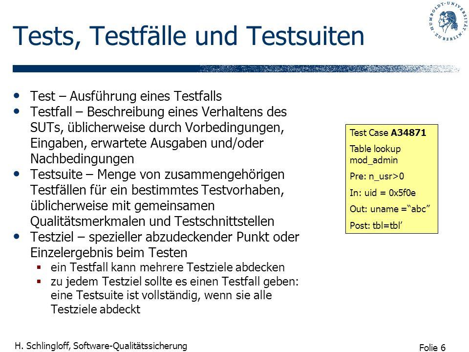 Folie 6 H. Schlingloff, Software-Qualitätssicherung Tests, Testfälle und Testsuiten Test – Ausführung eines Testfalls Testfall – Beschreibung eines Ve