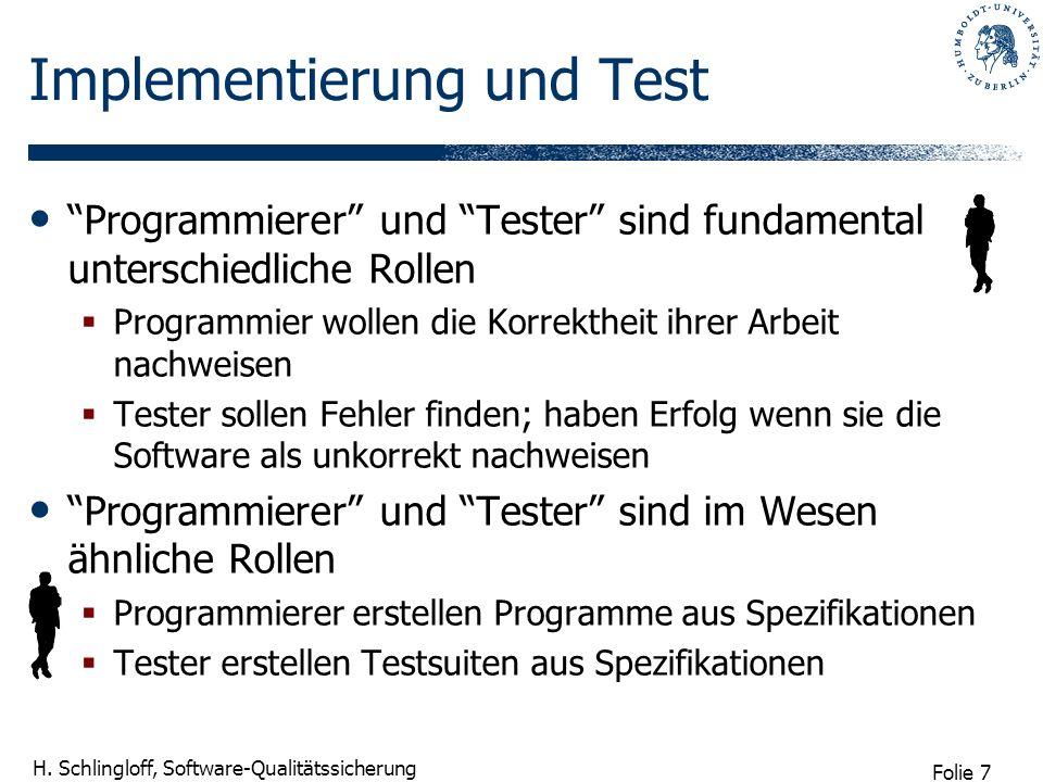 Folie 7 H. Schlingloff, Software-Qualitätssicherung Implementierung und Test Programmierer und Tester sind fundamental unterschiedliche Rollen Program