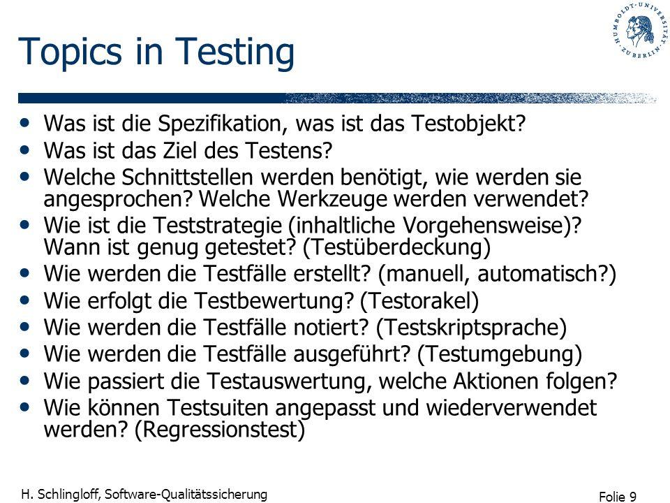 Folie 9 H. Schlingloff, Software-Qualitätssicherung Topics in Testing Was ist die Spezifikation, was ist das Testobjekt? Was ist das Ziel des Testens?