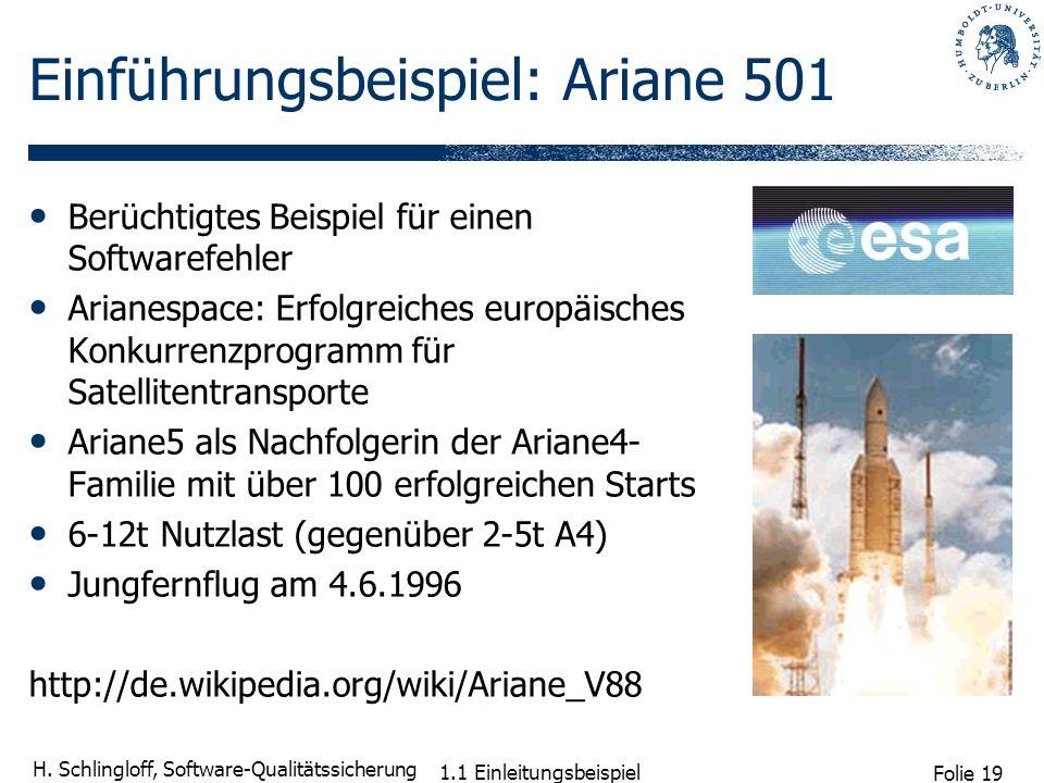 Folie 19 H. Schlingloff, Software-Qualitätssicherung 1.1 Einleitungsbeispiel Einführungsbeispiel: Ariane 501 Berüchtigtes Beispiel für einen Softwaref