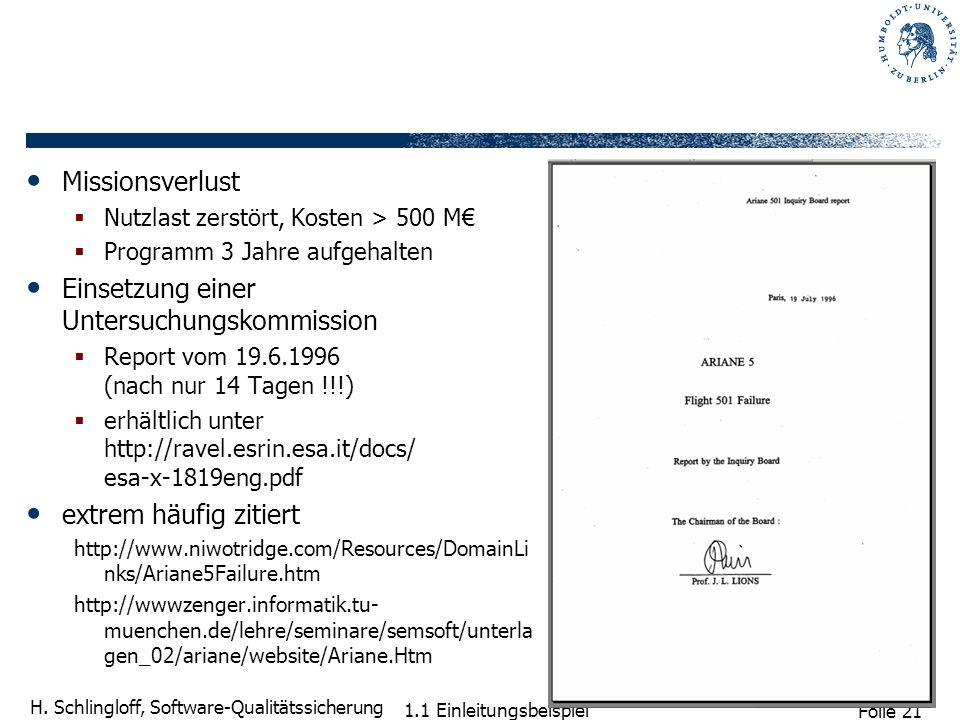 Folie 21 H. Schlingloff, Software-Qualitätssicherung 1.1 Einleitungsbeispiel Missionsverlust Nutzlast zerstört, Kosten > 500 M Programm 3 Jahre aufgeh