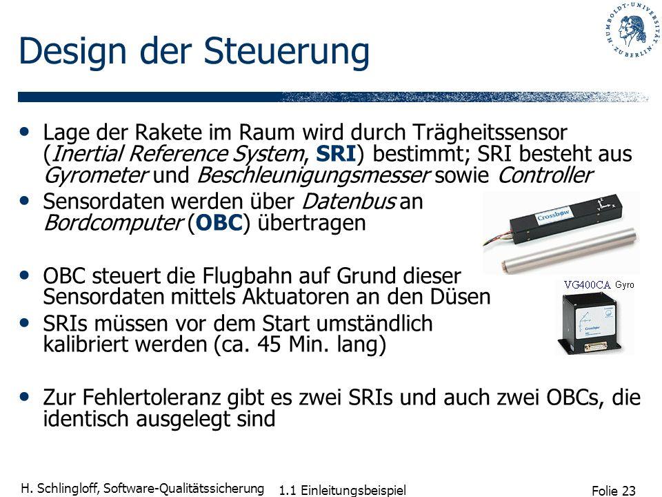 Folie 23 H. Schlingloff, Software-Qualitätssicherung 1.1 Einleitungsbeispiel Design der Steuerung Lage der Rakete im Raum wird durch Trägheitssensor (