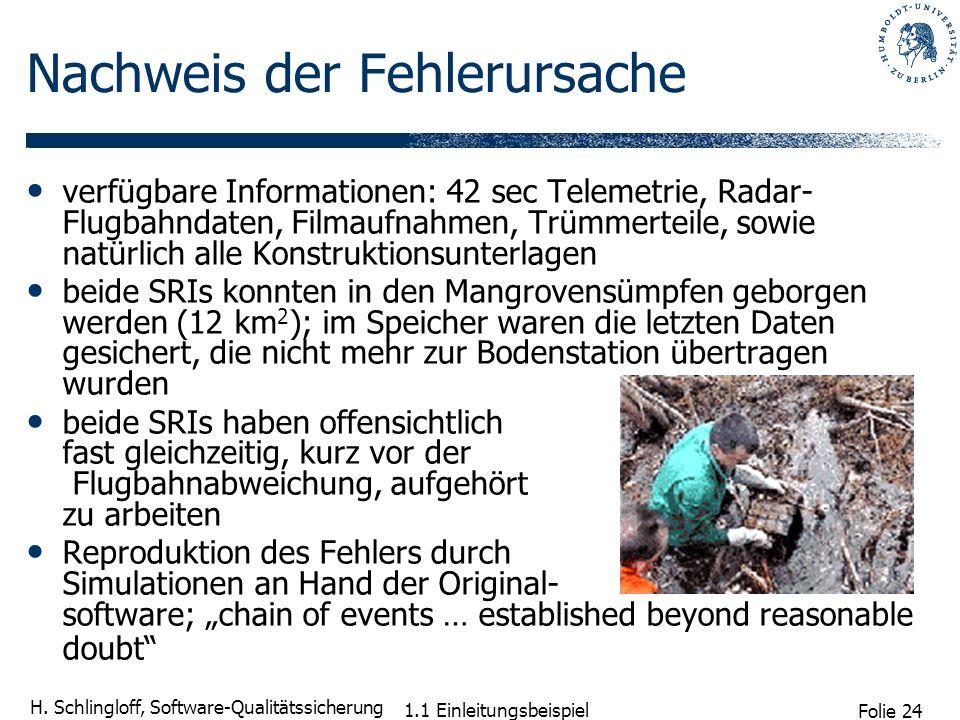 Folie 24 H. Schlingloff, Software-Qualitätssicherung verfügbare Informationen: 42 sec Telemetrie, Radar- Flugbahndaten, Filmaufnahmen, Trümmerteile, s