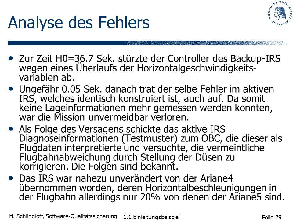 Folie 29 H. Schlingloff, Software-Qualitätssicherung 1.1 Einleitungsbeispiel Analyse des Fehlers Zur Zeit H0=36.7 Sek. stürzte der Controller des Back