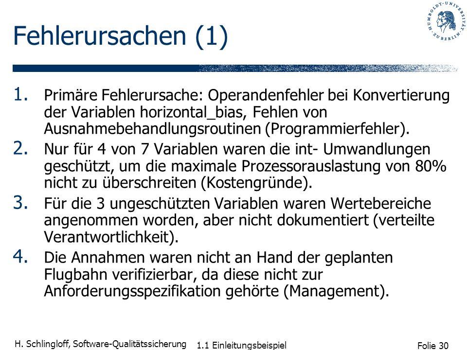 Folie 30 H. Schlingloff, Software-Qualitätssicherung 1.1 Einleitungsbeispiel Fehlerursachen (1) 1. Primäre Fehlerursache: Operandenfehler bei Konverti