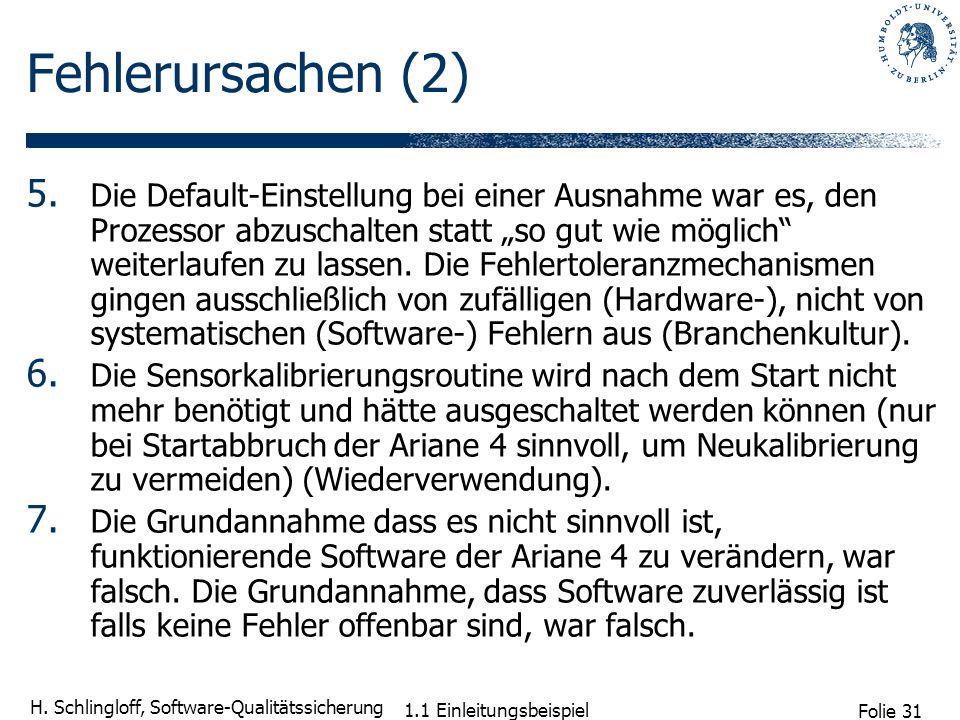 Folie 31 H. Schlingloff, Software-Qualitätssicherung 1.1 Einleitungsbeispiel Fehlerursachen (2) 5. Die Default-Einstellung bei einer Ausnahme war es,