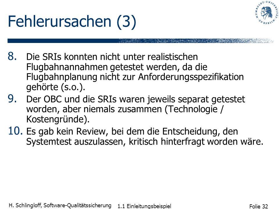 Folie 32 H. Schlingloff, Software-Qualitätssicherung 1.1 Einleitungsbeispiel Fehlerursachen (3) 8. Die SRIs konnten nicht unter realistischen Flugbahn