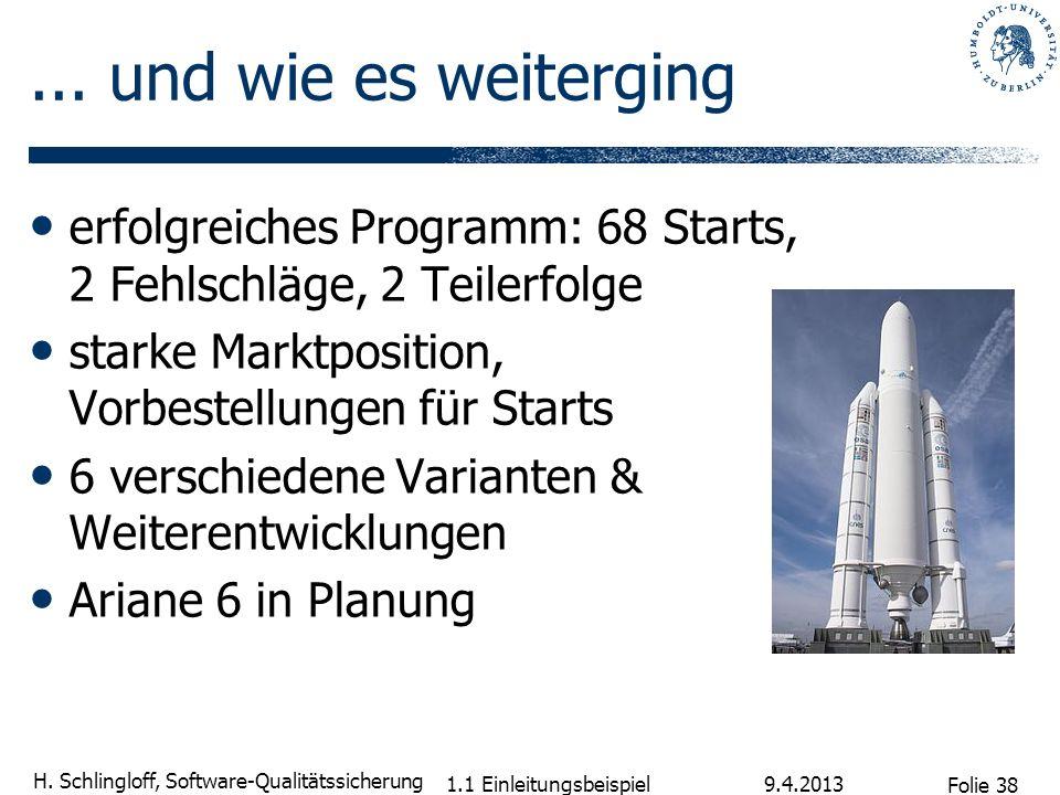 Folie 38 H. Schlingloff, Software-Qualitätssicherung... und wie es weiterging erfolgreiches Programm: 68 Starts, 2 Fehlschläge, 2 Teilerfolge starke M