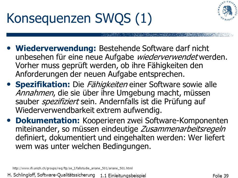 Folie 39 H. Schlingloff, Software-Qualitätssicherung 1.1 Einleitungsbeispiel Konsequenzen SWQS (1) Wiederverwendung: Bestehende Software darf nicht un