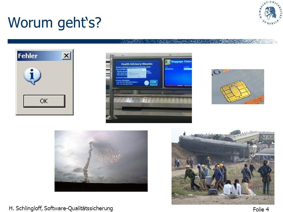 Folie 25 H.Schlingloff, Software-Qualitätssicherung 1.1 Einleitungsbeispiel Was war geschehen.